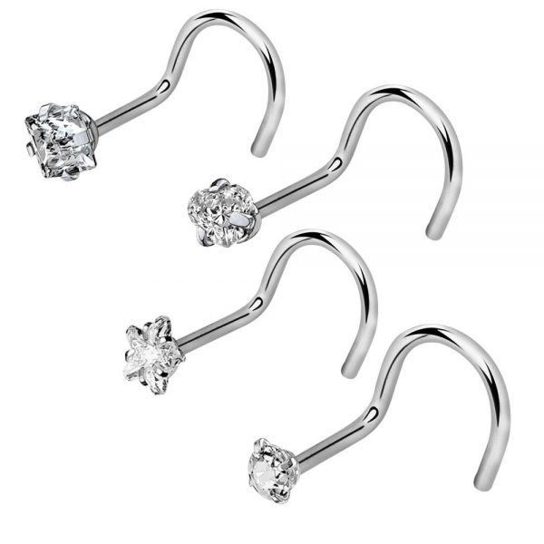 4Pcs 20G 316L Stainless Steel CZ Nose Rings Studs Nose Piercing Jewelry