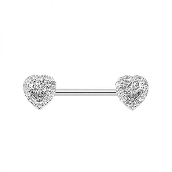 1Pair 14G Nipple Tongue Rings 316L Stainless Steel Fashion Design CZ Studs Barbell Nipple Piercing Body Jewelry