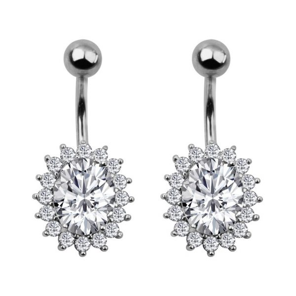 2Pcs 14G Belly Button Rings Navel Rings 316L Stainless Steel Creative Design CZ Studs Belly Piercing Body Jewelry