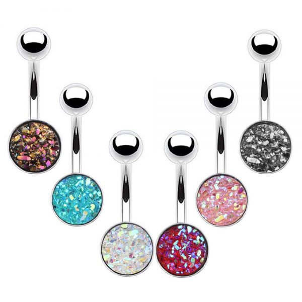 6Pcs 14G 316L Stainless Steel Curved Barbell Scrub Belly Button Rings Navel Rings Synthetic Crystal Body Piercing Jewelry