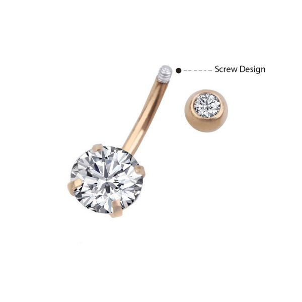5Pcs 14G 316L Stainless Steel Belly Button Rings Curved Barbell Crystal CZ Ball Screw Navel Bars Navel Rings Body Piercing Jewelry