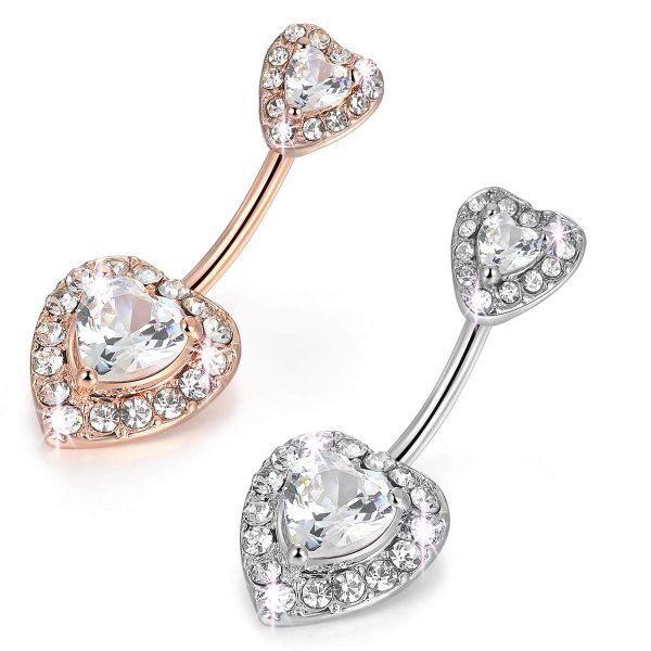 2Pcs 14G 316L Stainless Steel Belly Button Rings Curved Barbell Double Heart CZ Navel Rings Body Piercing Jewelry