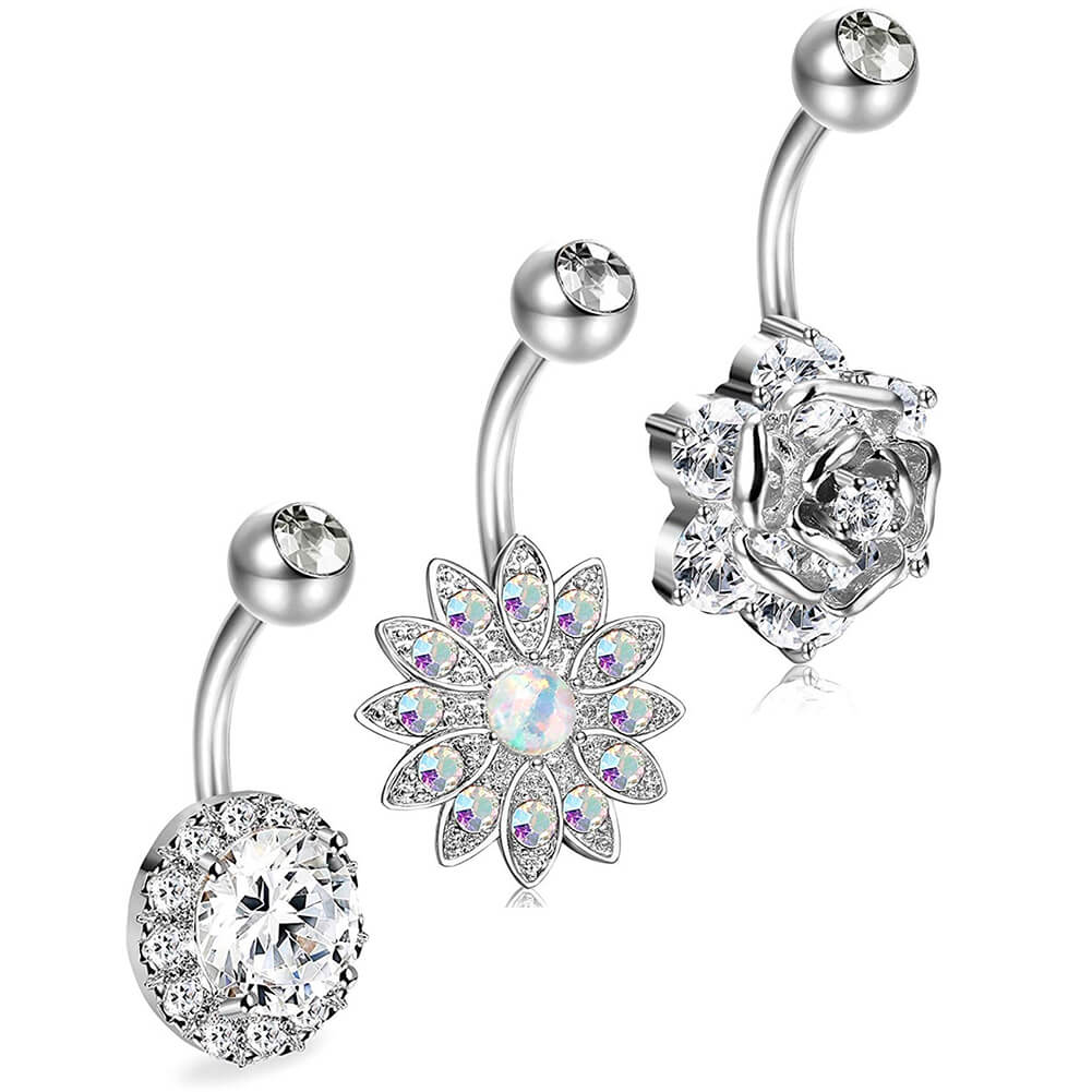 Silver /& stainless steel Flower belly button ring with CZ crystals
