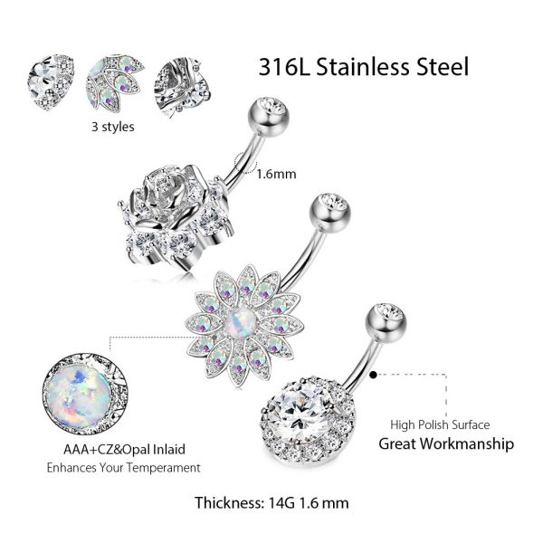 3Pcs 14G 316L Stainless Steel Belly Button Rings Screw Design Dangle Flower Opal CZ Navel Rings Body Piercing Jewelry