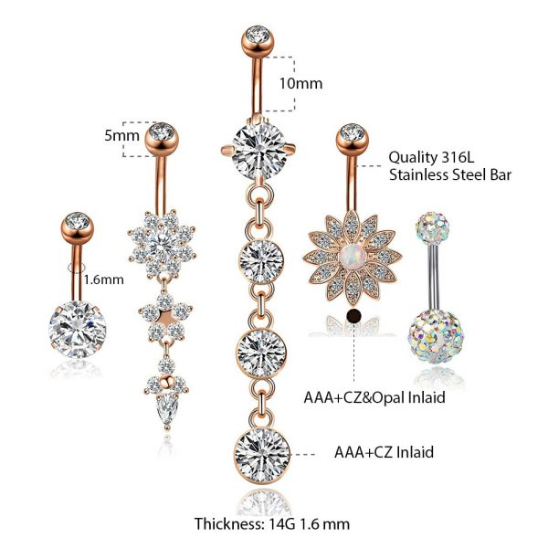 5Pcs 14G 316L Stainless Steel Belly Button Rings Curved Barbell Dangle Flower Opal CZ Navel Rings Body Piercing Jewelry