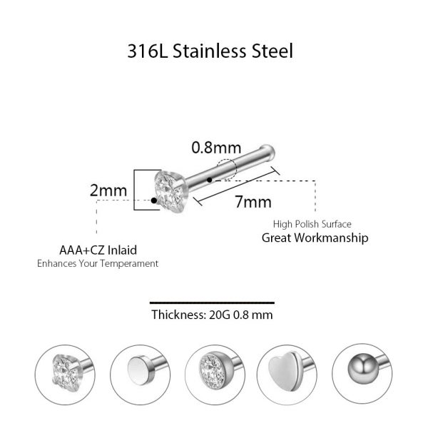 5Pcs 20G 316L Stainless Steel CZ Nose Rings Studs Nose Piercing Jewelry