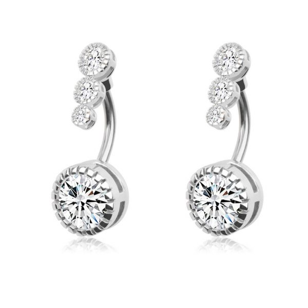 2Pcs 14G 316L Stainless Steel Belly Button Rings Curved Barbell Crystal CZ Navel Rings Body Piercing Jewelry